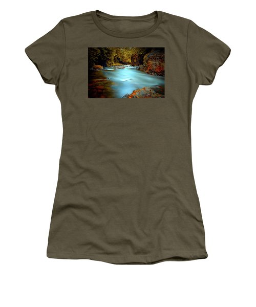 Blue Water And Rusty Rocks Signed Women's T-Shirt
