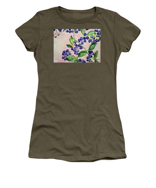 Blueberries Women's T-Shirt (Junior Cut) by Kim Nelson