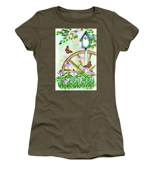 Bluebirds And Butterflies Women's T-Shirt (Athletic Fit)