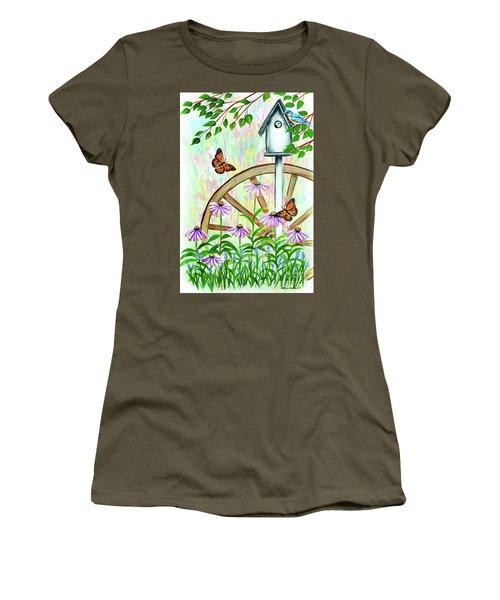 Bluebirds And Butterflies Women's T-Shirt (Athletic Fit)