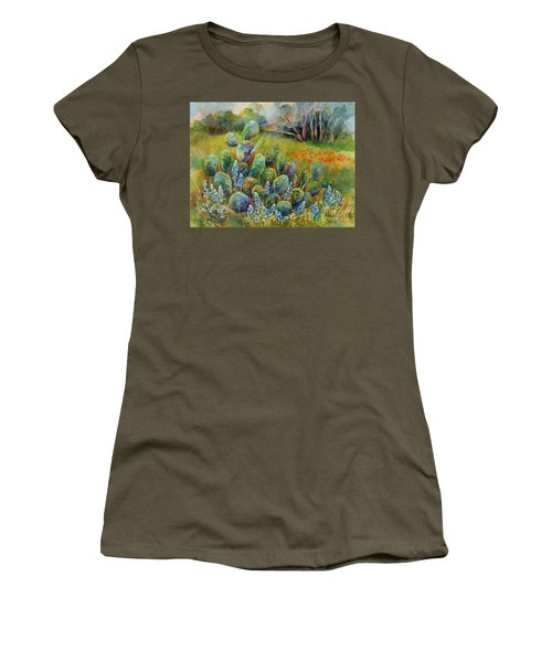Bluebonnets And Cactus Women's T-Shirt