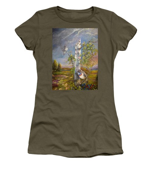 Bluethroat On The Tundra Women's T-Shirt (Athletic Fit)