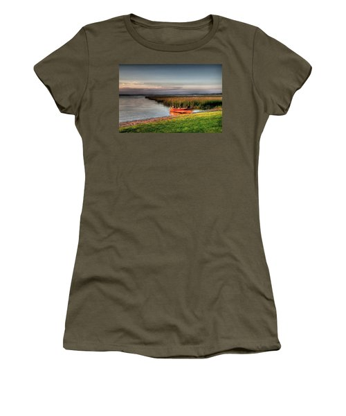 Boat On A Minnesota Lake Women's T-Shirt (Athletic Fit)