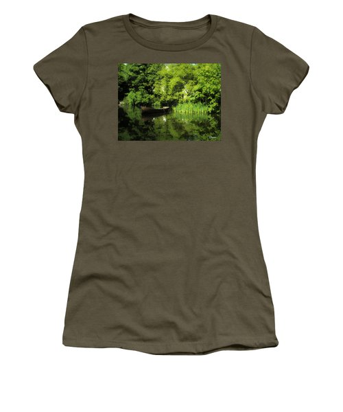 Boat Reflected On Water County Clare Ireland Painting Women's T-Shirt