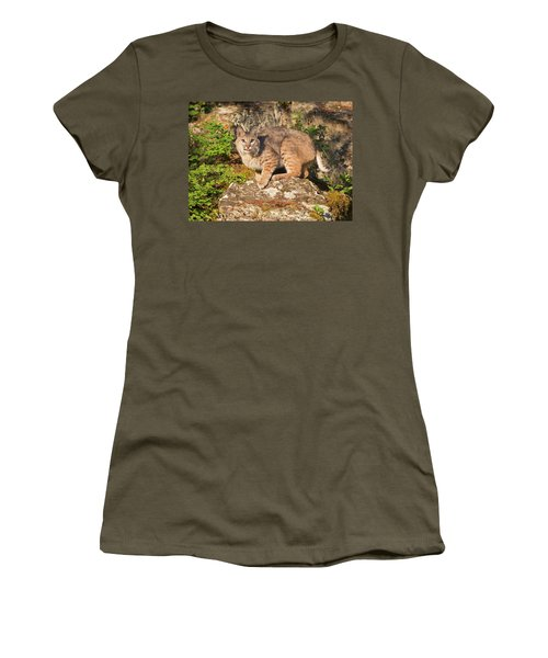 Bobcat On Rock With Tongue Out Women's T-Shirt (Athletic Fit)