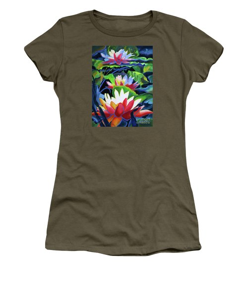 Women's T-Shirt (Junior Cut) featuring the painting Bold Lilypads by Kathy Braud