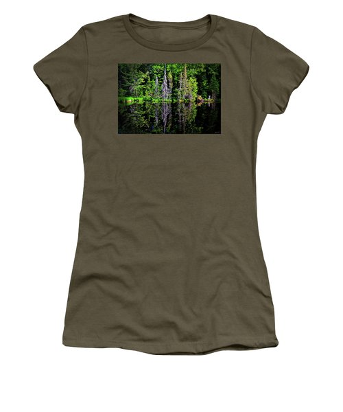 Bond Falls - Michigan 001 - Reflection Women's T-Shirt (Junior Cut) by George Bostian
