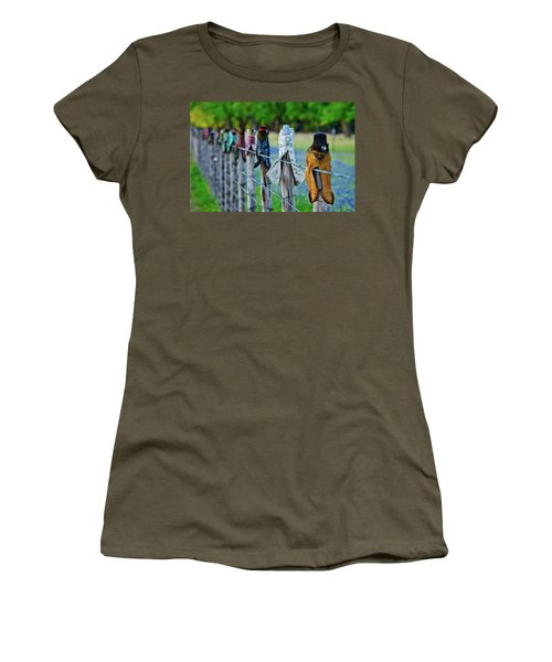 Women's T-Shirt (Junior Cut) featuring the photograph Boots On The Fence by Linda Unger