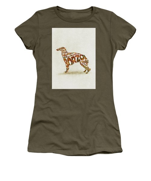 Women's T-Shirt (Athletic Fit) featuring the painting Borzoi Dog Watercolor Painting / Typographic Art by Inspirowl Design