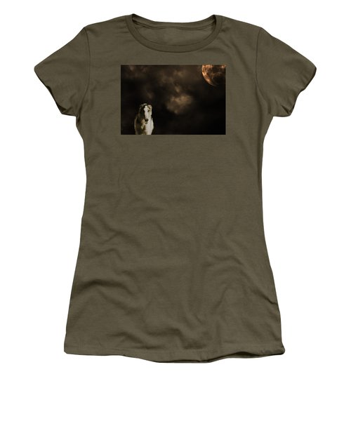 Women's T-Shirt (Junior Cut) featuring the photograph Borzoi Wolf Hound And Full Moon by Christian Lagereek