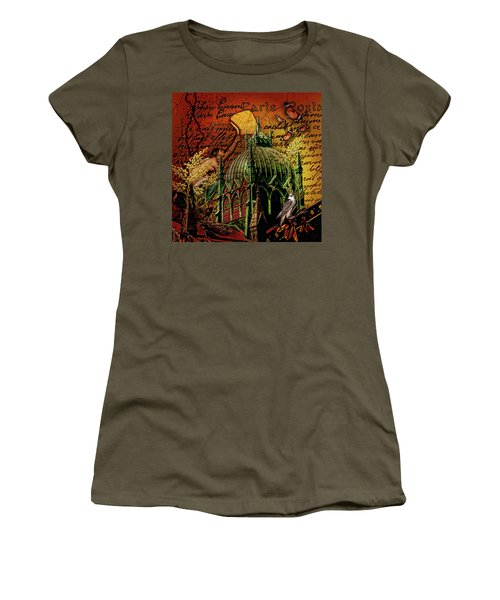 Women's T-Shirt featuring the digital art Boston Birds....dark by Richard Ricci