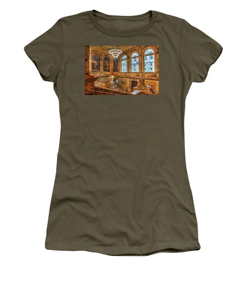 Women's T-Shirt (Junior Cut) featuring the photograph Boston Public Library Architecture by Joann Vitali