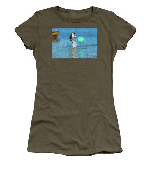 Boston Terrier Jump - Painterly Women's T-Shirt