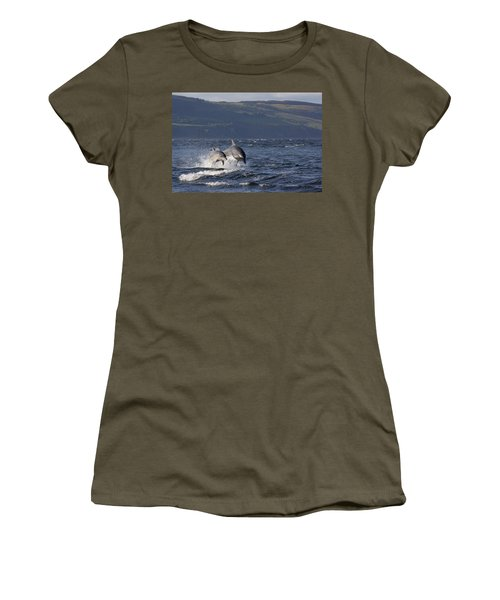Bottlenose Dolphins Leaping - Scotland  #37 Women's T-Shirt
