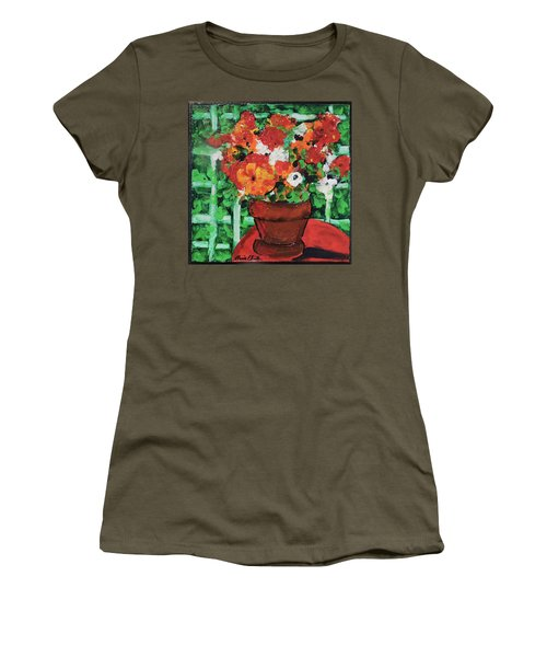 Bouquet A Day Floral Painting Original 59.00 By Elaine Elliott Women's T-Shirt (Athletic Fit)