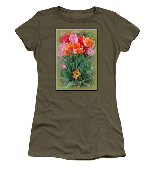 Bouquet Of Colorful Tulips Women's T-Shirt (Junior Cut) by Dora Sofia Caputo Photographic Art and Design