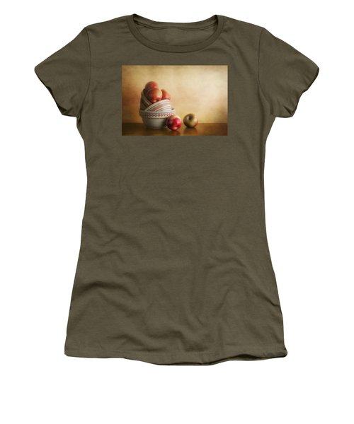Women's T-Shirt (Junior Cut) featuring the photograph Bowls And Apples Still Life by Tom Mc Nemar