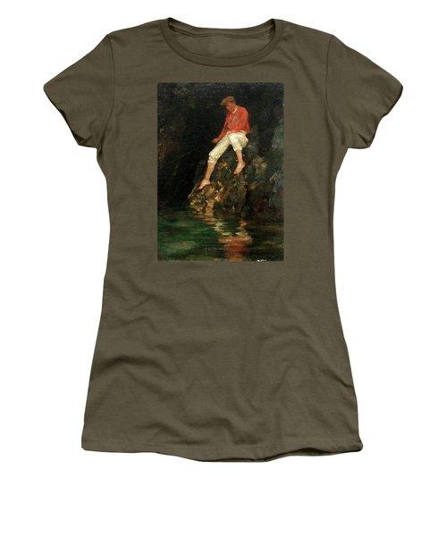 Women's T-Shirt (Junior Cut) featuring the painting Boy Fishing On Rocks  by Henry Scott Tuke