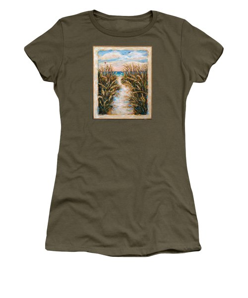 Women's T-Shirt (Junior Cut) featuring the painting Breezy Sea Oats by Linda Olsen