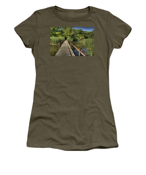 Women's T-Shirt (Junior Cut) featuring the photograph Bridge Into The Forest At Lake Murray by Tamyra Ayles