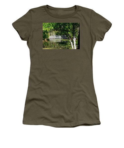 Women's T-Shirt (Junior Cut) featuring the photograph Bridge On Lilly Pond by Lori Mellen-Pagliaro