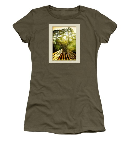 Women's T-Shirt (Junior Cut) featuring the photograph Bridge Shadows by Linda Olsen