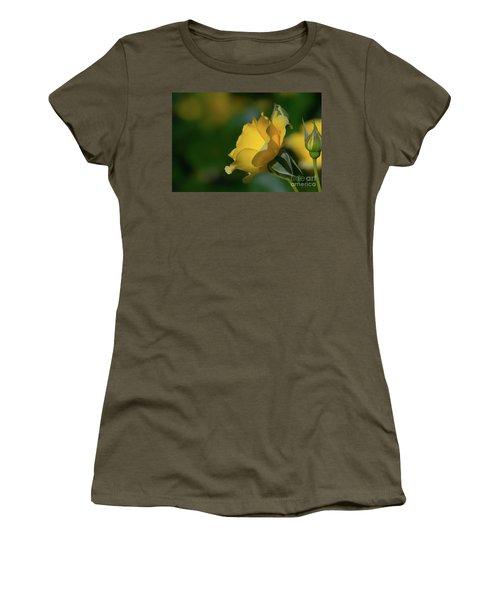 Bright Yellow Walking On Sunshine Rose Women's T-Shirt (Athletic Fit)