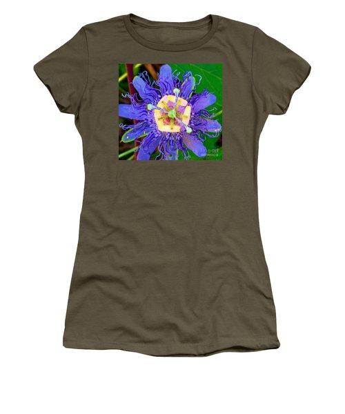 Brilliant Blue Flower Women's T-Shirt (Athletic Fit)