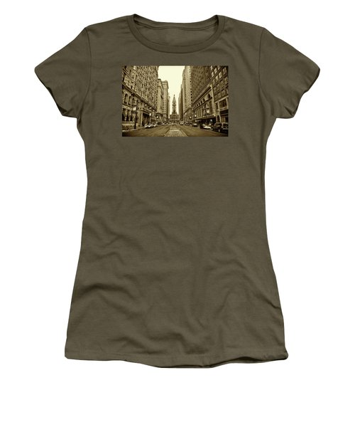 Broad Street Facing Philadelphia City Hall In Sepia Women's T-Shirt
