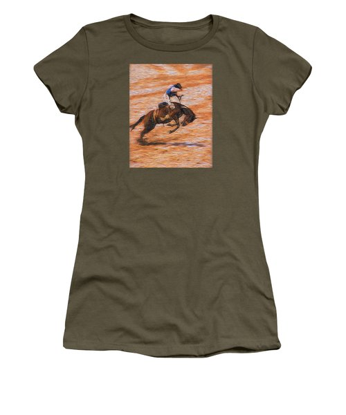 Women's T-Shirt (Junior Cut) featuring the photograph Bronc Rider by John Freidenberg