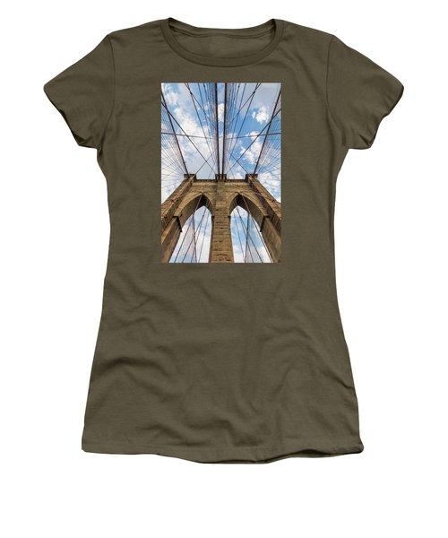 Women's T-Shirt (Junior Cut) featuring the photograph Brooklyn Bridge 3 by Emmanuel Panagiotakis