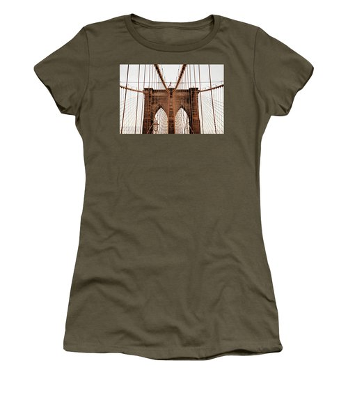 Women's T-Shirt (Junior Cut) featuring the photograph Brooklyn Bridge by MGL Meiklejohn Graphics Licensing
