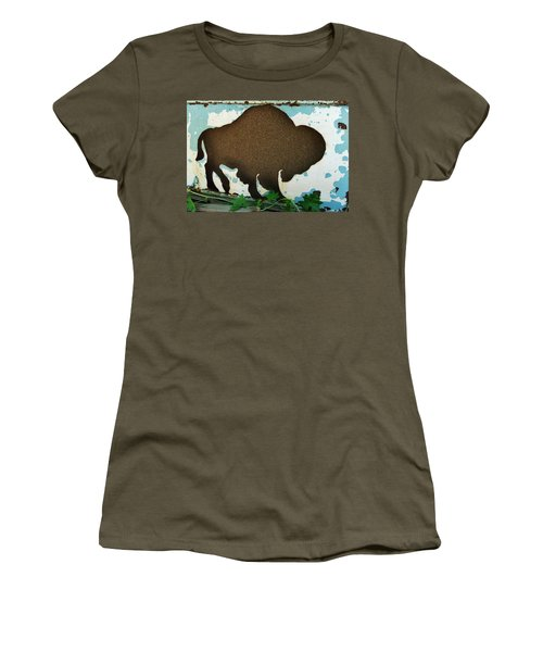 Women's T-Shirt (Athletic Fit) featuring the photograph Brown Buffalo by Larry Campbell