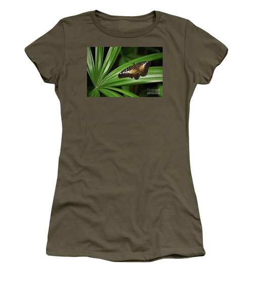Brown Clipper Butterfly -parthenos Sylvia- On Frond Women's T-Shirt