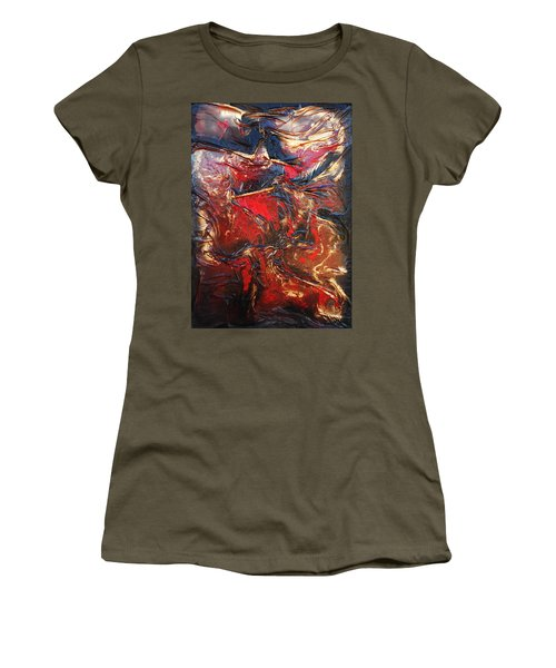 Brown, Red And Gold Women's T-Shirt (Athletic Fit)