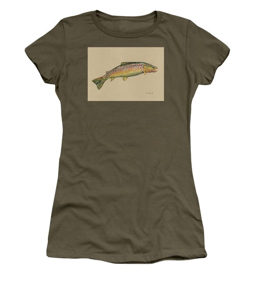 Brown Trout Jumping Women's T-Shirt (Athletic Fit)