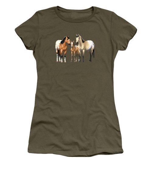 Buckskin Appaloosa Horses In Winter Pasture Women's T-Shirt