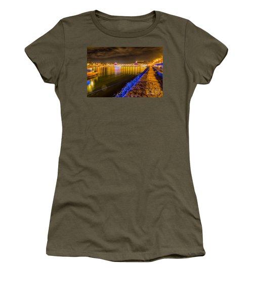 Women's T-Shirt (Junior Cut) featuring the photograph Budapest At Night Lanchid Chain Bridge by Jivko Nakev
