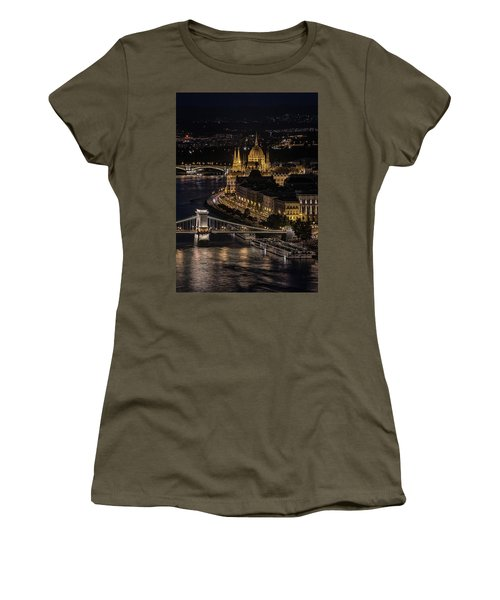 Budapest View At Night Women's T-Shirt (Junior Cut) by Jaroslaw Blaminsky