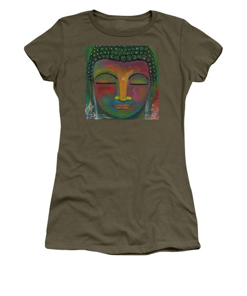 Women's T-Shirt (Athletic Fit) featuring the painting Buddha Painting by Prerna Poojara