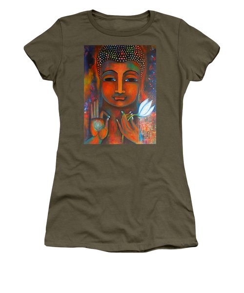 Buddha With A White Lotus In Earthy Tones Women's T-Shirt (Junior Cut) by Prerna Poojara
