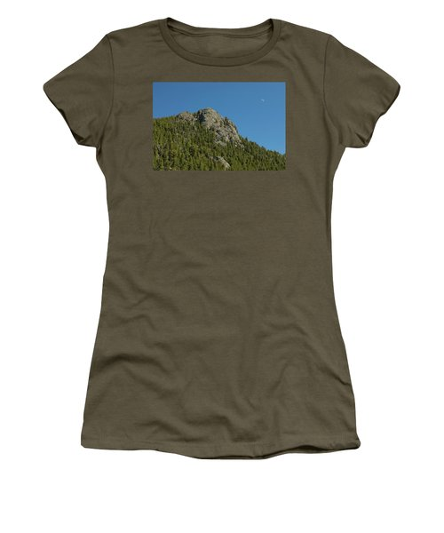 Women's T-Shirt (Junior Cut) featuring the photograph Buffalo Rock With Waxing Crescent Moon by James BO Insogna