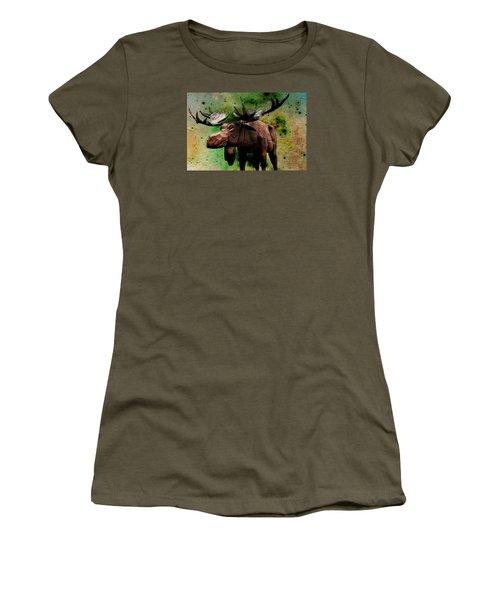 Women's T-Shirt (Junior Cut) featuring the digital art Bull Moose by Robin Regan