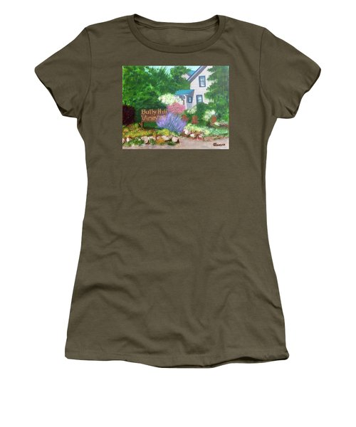 Women's T-Shirt (Junior Cut) featuring the painting Bully Hill Vineyard by Cynthia Morgan
