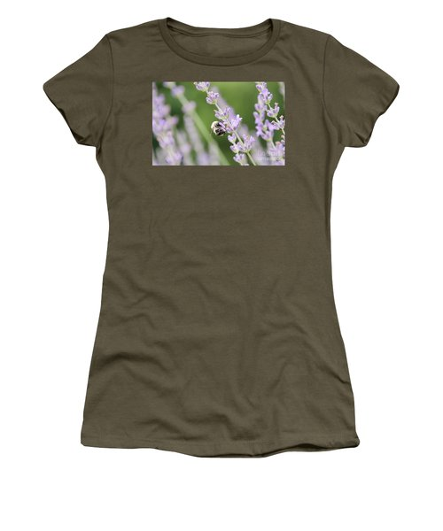 Women's T-Shirt (Athletic Fit) featuring the photograph Bumblebee On The Lavender Field 2 by Andrea Anderegg