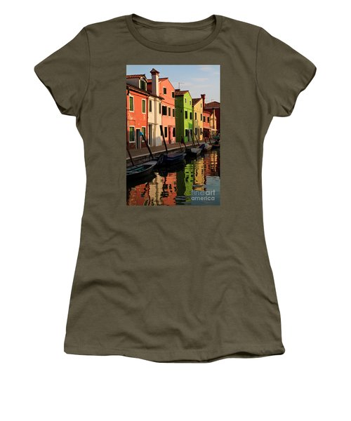 Women's T-Shirt (Junior Cut) featuring the photograph Burano Reflections by Dennis Hedberg