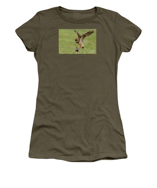 Burrowing Owl - Learning To Fly Women's T-Shirt (Junior Cut) by Meg Rousher