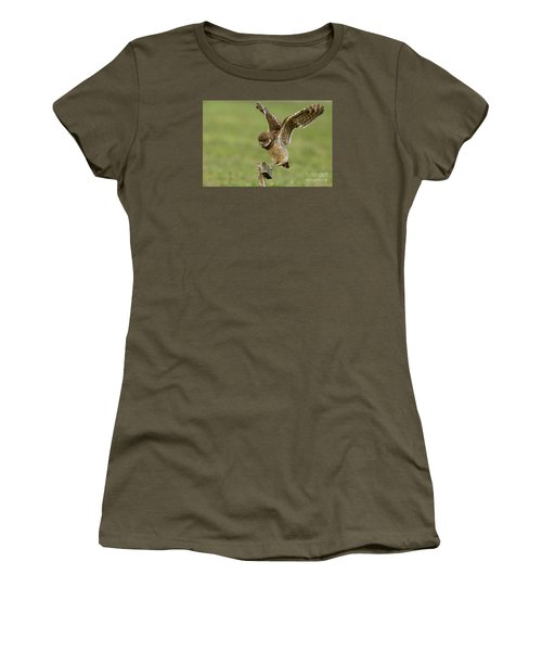 Burrowing Owl - Learning To Fly Women's T-Shirt (Athletic Fit)