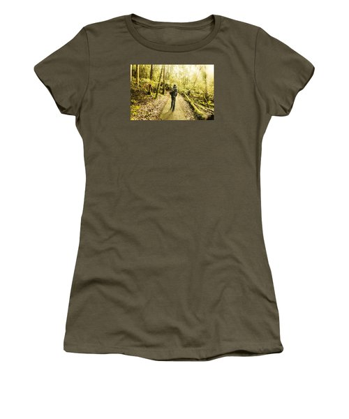 Women's T-Shirt (Athletic Fit) featuring the photograph Bushwalking Tasmania by Jorgo Photography - Wall Art Gallery