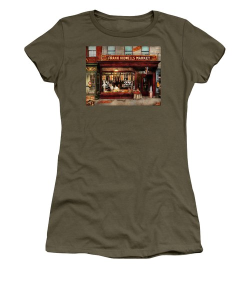 Women's T-Shirt (Junior Cut) featuring the photograph Butcher - Meat Priced Right 1916 by Mike Savad